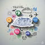 Travel collage with icons background Royalty Free Stock Image