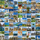Travel collage. Many photos of many places around the world.  Royalty Free Stock Photography