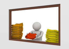 Travel collection - Beach towel station worker Stock Images