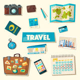 Travel collection. Vacation theme. Cartoon vector illustration. Stock Photography