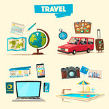 Travel collection. Vacation theme. Cartoon vector illustration. Stock Image