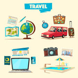 Travel collection. Vacation theme. Cartoon vector illustration. Stock Photo