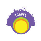 Travel color  art silhouette Royalty Free Stock Image