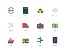 Travel color icons on white background Royalty Free Stock Photography
