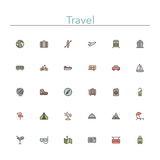 Travel Colored Line Icons. Travel and tourism colored line icons set. Vector illustration Stock Image