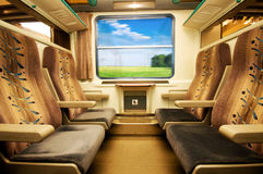 Travel in comfortable train. View from inside Royalty Free Stock Images