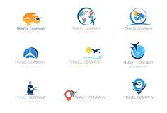 Travel Company Logos Set Template Tourism Agency Collection Of Banner Design. Vector Illustration Stock Photos