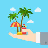 Travel company promo tour business vacation flat web infographic Stock Photo