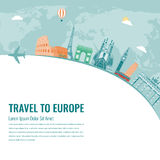 Travel composition with famous Europe landmarks. Vector Stock Photography