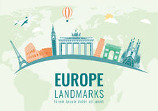 Travel composition with famous Europe landmarks. Vector Stock Photo