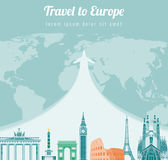 Travel composition with famous Europe landmarks. Vector Stock Image