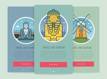 Travel composition with famous world landmarks Giza, Kamakura, Kinderdijk. Travel and Tourism. Concept website template Royalty Free Stock Photos