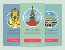 Travel composition with famous world landmarks Giza, Moscow, Beijing. Travel and Tourism. Concept website template Royalty Free Stock Images