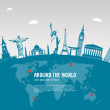 Travel composition with famous world landmarks icons. Vector Stock Image