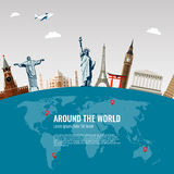 Travel composition with famous world landmarks icons. Vector Royalty Free Stock Images