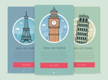 Travel composition with famous world landmarks London, Paris, Pisa. Travel and Tourism. Concept website template. Vector Royalty Free Stock Photo