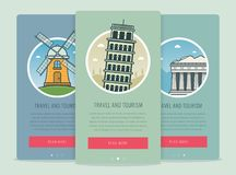Travel composition with famous world landmarks Pisa, Athens, Kinderdijk. Travel and Tourism. Concept website template Royalty Free Stock Images