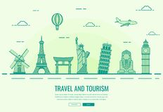 Travel composition with famous world landmarks. Travel and Tourism. Concept website template. Vector Royalty Free Stock Images