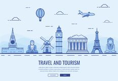 Travel composition with famous world landmarks. Travel and Tourism. Concept website template. Vector Stock Photography