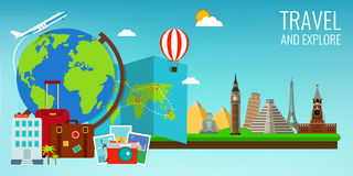 Travel composition with famous world landmarks. Travel and Tourism. Concept website template. Vector Royalty Free Stock Photos