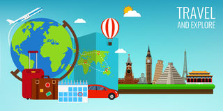Travel composition with famous world landmarks. Travel and Tourism. Concept website template. Vector Stock Images