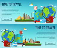 Travel composition with famous world landmarks. Travel and Tourism. Concept website template. Vector Stock Image