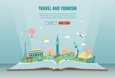 Travel composition with famous world landmarks. Travel and Tourism. Concept website template. Vector. Stock Photos