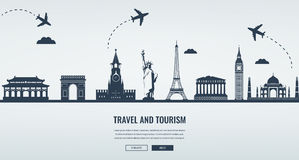 Travel composition with famous world landmarks. Travel and Tourism. Concept website template. Vector. Royalty Free Stock Image