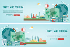 Travel composition with famous world landmarks. Travel and Tourism. Concept website template. Vector. Stock Images