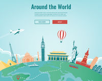 Travel composition with famous world landmarks. Travel and Tourism. Concept website template. Vector. Royalty Free Stock Images