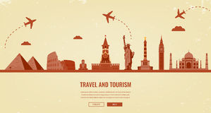 Travel composition with famous world landmarks. Travel and Tourism. Concept website template. Vector. Royalty Free Stock Photo