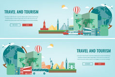 Travel composition with famous world landmarks. Travel and Tourism. Concept website template. Vector. Royalty Free Stock Photography