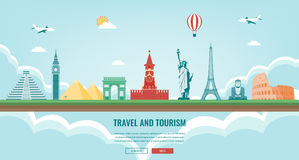 Travel composition with famous world landmarks. Travel and Tourism. Concept website template. Vector. Stock Image