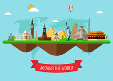 Travel composition with famous world landmarks. Travel and Tourism. Concept website template. Vector illustration. Stock Photo