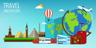 Travel composition with famous world landmarks. Travel and Tourism. Concept website template. Vector illustration. Stock Photos