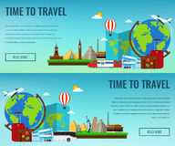 Travel composition with famous world landmarks. Travel and Tourism. Concept website template. Vector illustration. stock illustration