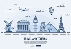 Travel composition with famous world landmarks. Travel and Tourism. Concept website template. Vector Stock Photo