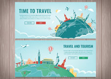 Travel composition with famous world landmarks. Travel and Tourism. Concept website template. Vector. Modern flat design Royalty Free Stock Photography