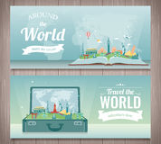 Travel composition with famous world landmarks. Travel and Tourism. Concept website template. Vector. Stock Photo