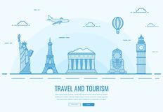Travel composition with famous world landmarks. Travel and Tourism. Concept website template. Vector Stock Photos