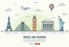 Travel composition with famous world landmarks. Travel and Tourism. Concept website template. Vector Royalty Free Stock Photo
