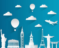 Travel composition with famous world landmarks. Travel and Tourism. Skyline flat design with long shadow. Vector Stock Image