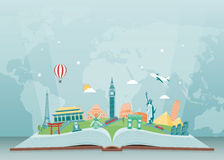 Travel composition with famous world landmarks. Travel and Tourism. Vector Stock Photo