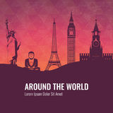 Travel composition with famous world landmarks. Travel and Tourism. Vector Stock Photography