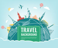 Travel composition with famous world landmarks. Travel and Tourism. Vector Stock Image