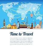 Travel composition with famous world landmarks. Travel and Tourism. Vector. Modern flat design. Royalty Free Stock Photography