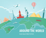 Travel composition with famous world landmarks. Travel and Tourism. Vector. Modern flat design. Travel composition with famous world landmarks. Travel and vector illustration