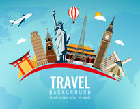 Travel composition with famous world landmarks. Travel and Tourism. Vector. Modern flat design. Royalty Free Stock Image