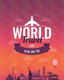 Travel composition with famous world landmarks and vintage badge. Travel and Tourism. Abstract background. Vector Stock Photography