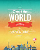Travel composition with famous world landmarks and vintage badge. Travel and Tourism. Abstract background. Vector Stock Images